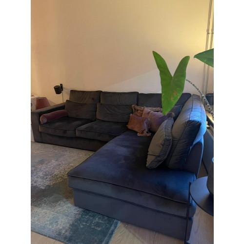 Loungebank grijs velvet afbeelding