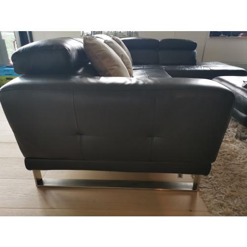 Montel leather black sofa afbeelding 3