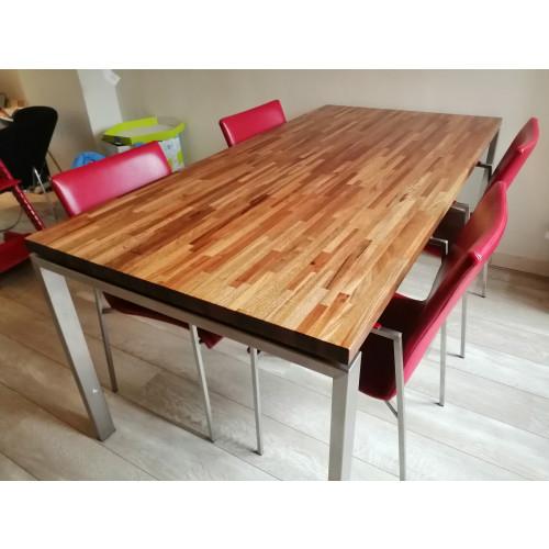 Eettafel met 4 stoelen hout staal leer afbeelding