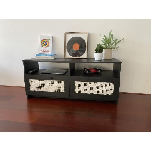 Zwarte dressoir kast / tv meubel met webbing 120x53x39,5 cm afbeelding