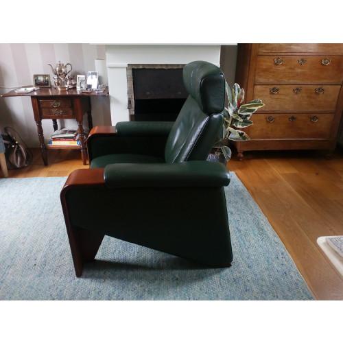 Vintage design groene leren fauteuil afbeelding