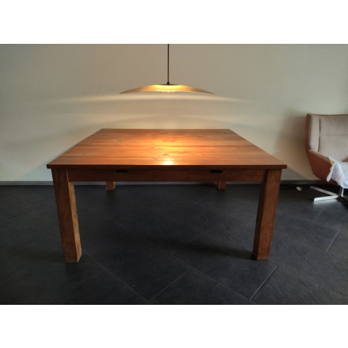 Eettafel massief teak hout 160x160 afbeelding