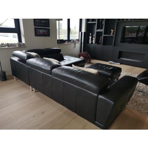 Montel leather black sofa afbeelding 2