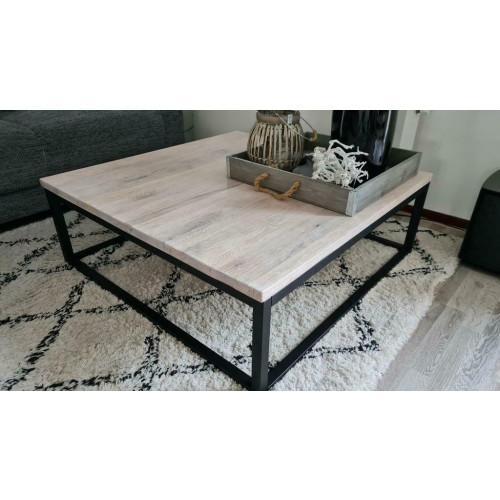 Industriële salontafel van eikenhout, 100x100 afbeelding