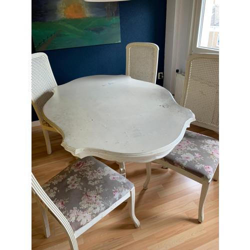 Brocante eettafel inclusief 4 stoelen afbeelding