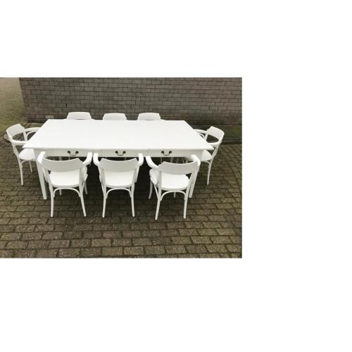 Hardhouten witte eettafel met bijbehorende stoelen.  afbeelding 3