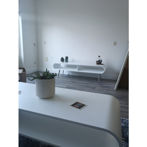 Tafel set salontafel en tv kast wit hout afbeelding 3