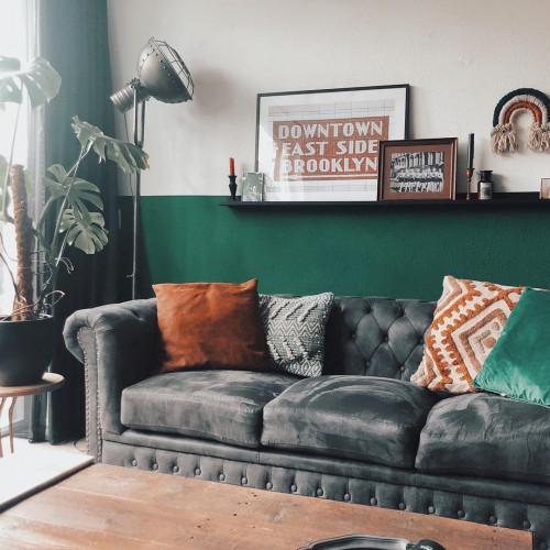 Vintage Design Sofa Chesterfield 3-Zits Antiek Grijs afbeelding