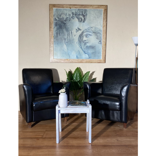 Luxe zwarte fauteuils van hoogwaardig leer ALS NIEUW afbeelding