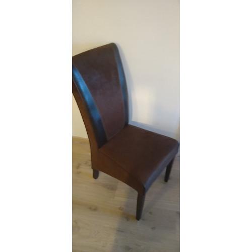 4x bruine suède leren stoelen afbeelding